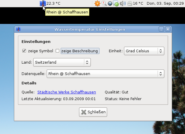 watertmp-applet-0.5.2 screenshot in German